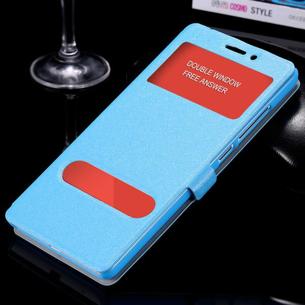 For Hongmi Note Luxury Pu Leather Case Free Answer Dual Window Dis 32283822182-4-sky blue