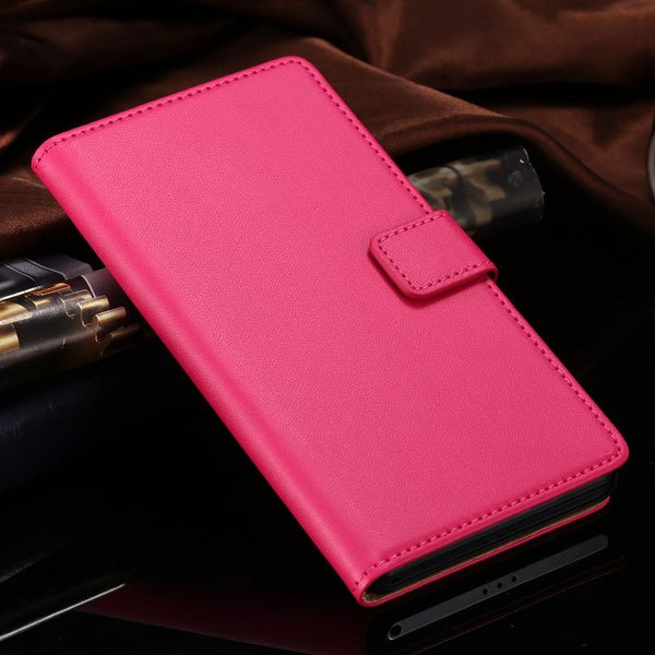 Hot Genuine Leather Wallet Case For Sony-Ericsson Xperia Z2 D6503  1821664329-3-hot pink