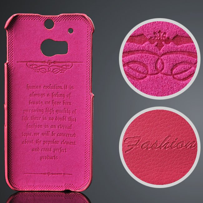 M8 Genuine Leather Case Card Slot Back Cover For Htc One M8 Premiu 32268354864-5-hot pink