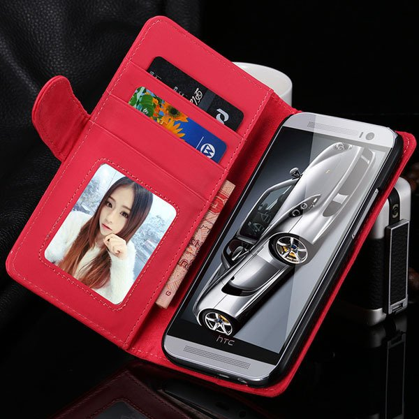 M8 Retro Pu Leather Case For Htc M8 Flip Wallet Cover Stand Holder 1868260974-8-hot pink