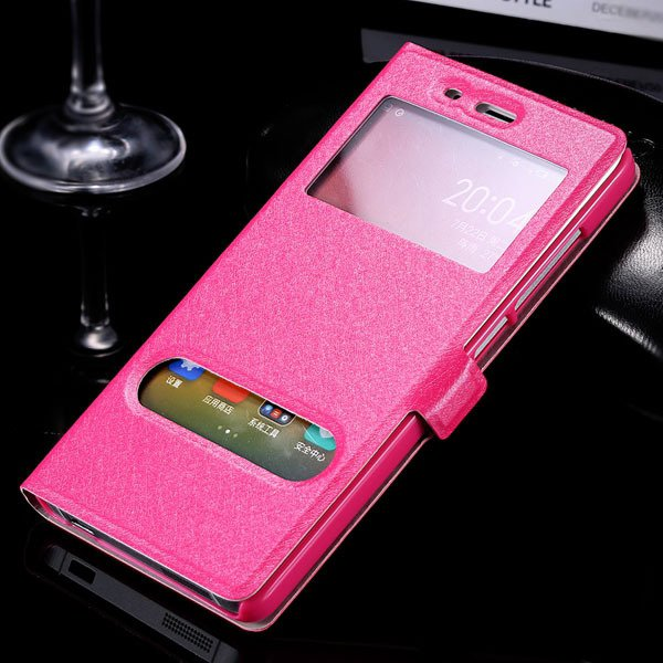 Mi4 Window View Case Free Answer Luxury Silk Pu Leather Cover For  32284067998-5-rose
