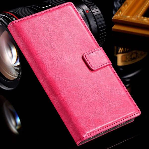 For Sony L36H Wallet Book Case Luxury Pu Leather Cover For Sony Xp 32283789281-4-rose