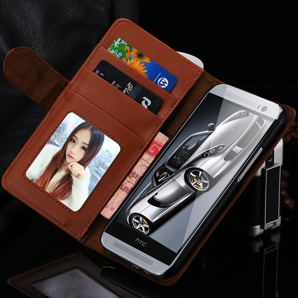 M8 Wallet Case Luxury Flip Cover With Magnetic Buckle Protect For  1868340559-2-brown