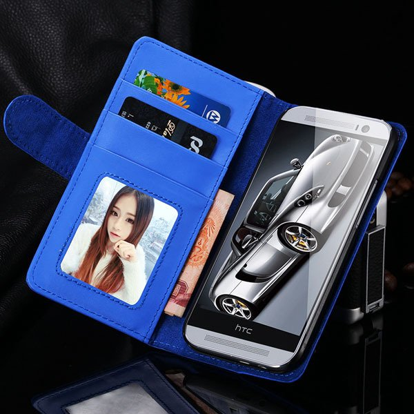 M8 Wallet Case Luxury Flip Cover With Magnetic Buckle Protect For  1868340559-5-blue