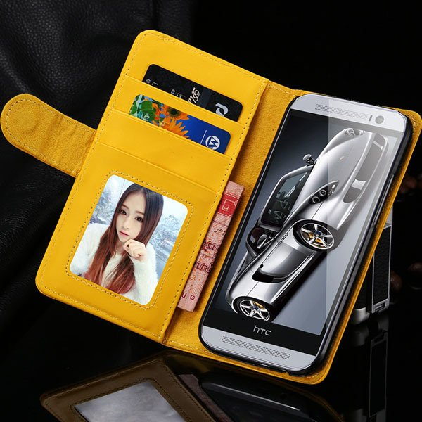 M8 Wallet Case Luxury Flip Cover With Magnetic Buckle Protect For  1868340559-6-yellow