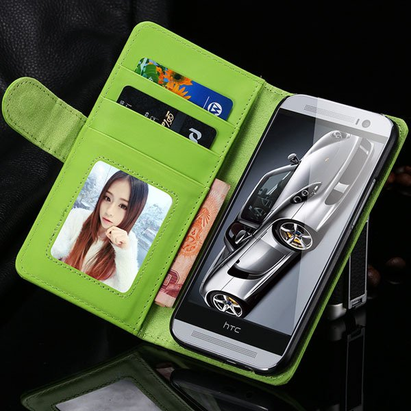 M8 Wallet Case Luxury Flip Cover With Magnetic Buckle Protect For  1868340559-7-green