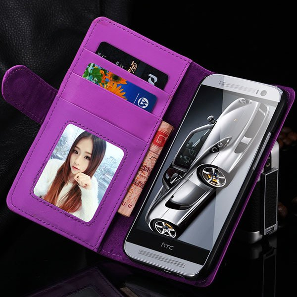 M8 Wallet Case Luxury Flip Cover With Magnetic Buckle Protect For  1868340559-9-purple