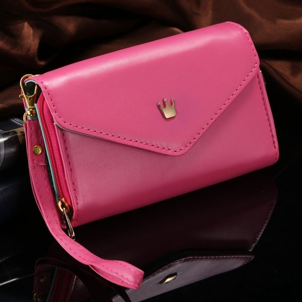 Elegant Lady General Phone Bag For Htc One M7 Pu Leather Case Full 32251573288-4-hot pink