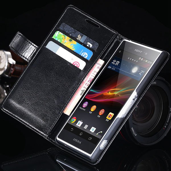 Z2 Flip Case For Sony-Ericsson Xperia Z2 Pu Leather Wallet Bag For 32263484703-1-black
