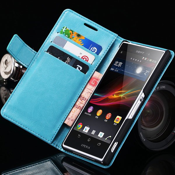 Z2 Flip Case For Sony-Ericsson Xperia Z2 Pu Leather Wallet Bag For 32263484703-5-blue
