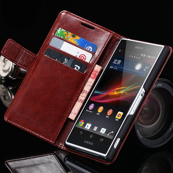 Z2 Flip Case For Sony-Ericsson Xperia Z2 Pu Leather Wallet Bag For 32263484703-6-brown