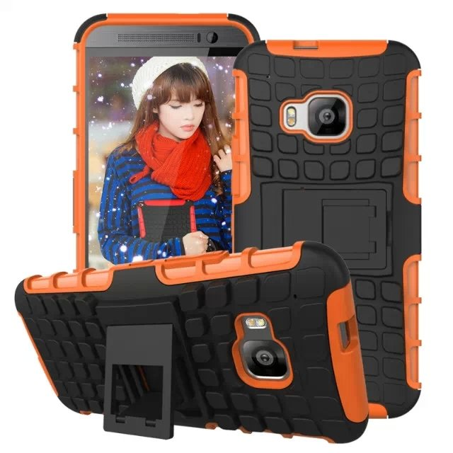 M9 Hybrid Kickstand Case Heavy Duty Armor Cover For Htc One M9 Com 32298660297-6-orange