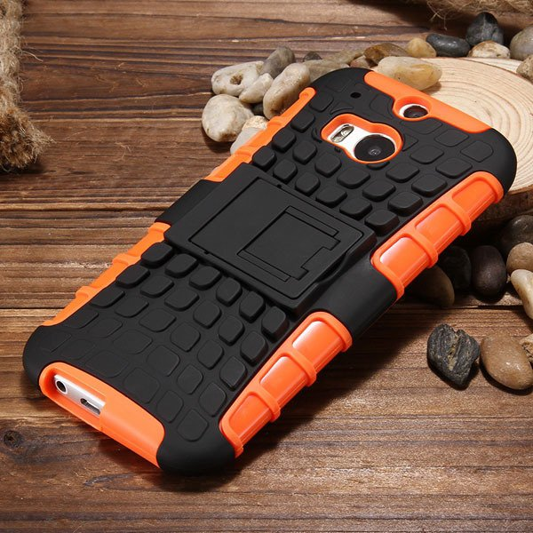 M8 Armor Heavy Duty Hard Cover Case For Htc One M8 Dual Layer Sili 32294281901-2-orange