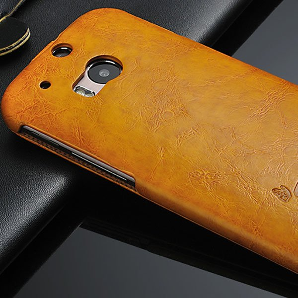 Customized Retro Smooth Wax Feeling Full Cover For Htc One M8 Pu L 32251754923-1-yellow