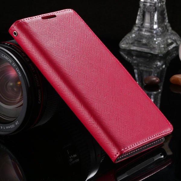 Genuine Leather Cross Pattern Case For Sony-Ericsson Xperia Z2 D65 1879140228-4-hot pink