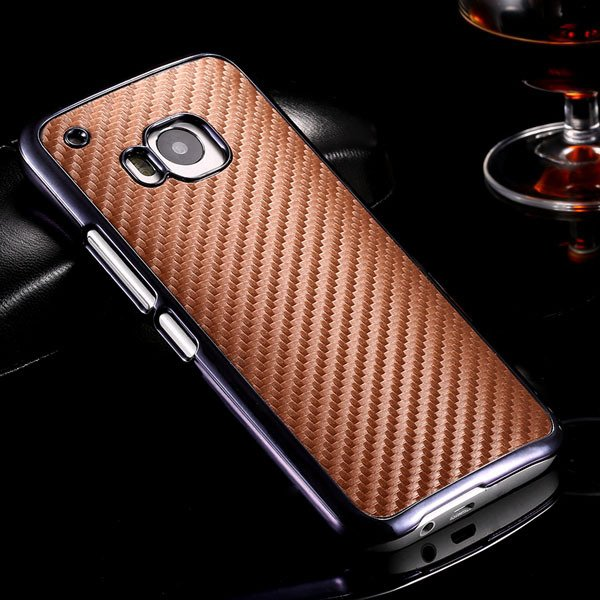 M9 Plating Microfiber Case With Chromed Metallic Frame For Htc One 32304730204-5-brown