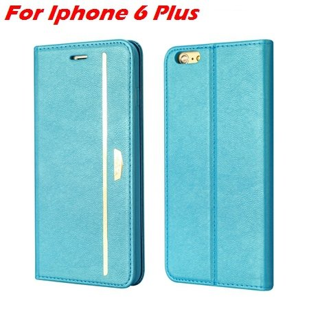 Luxury Fashion High Quality Leather Case For Iphone 6 Flip Case St 2055637345-2-Blue For I6 Plus