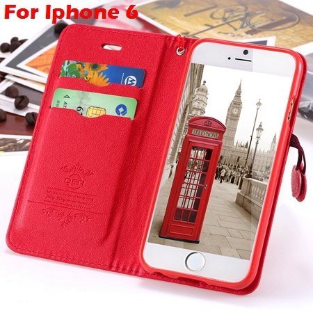 Newest Girl'S Cute Cherry Leather Case For Iphone 6 & Iphone 6 Plu 32214517740-3-Red For Iphone 6
