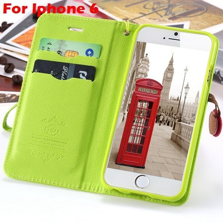 Newest Girl'S Cute Cherry Leather Case For Iphone 6 & Iphone 6 Plu 32214517740-4-Green  For Iphone 6