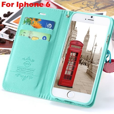 Newest Girl'S Cute Cherry Leather Case For Iphone 6 & Iphone 6 Plu 32214517740-6-Mint  For Iphone 6