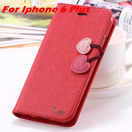 Newest Girl'S Cute Cherry Leather Case For Iphone 6 & Iphone 6 Plu 32214517740-9-Red For I6 Plus