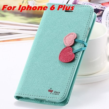 Newest Girl'S Cute Cherry Leather Case For Iphone 6 & Iphone 6 Plu 32214517740-11-Mint For I6 Plus