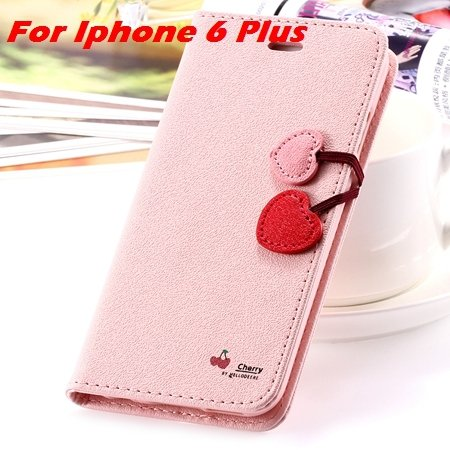 Newest Girl'S Cute Cherry Leather Case For Iphone 6 & Iphone 6 Plu 32214517740-12-Pink For I6 Plus