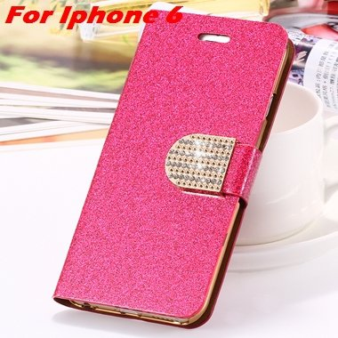 For Iphone 6 Case Gold Luxury Bling Diamond Leather Case For Iphon 32258181305-3-Hot Pink For Iphone