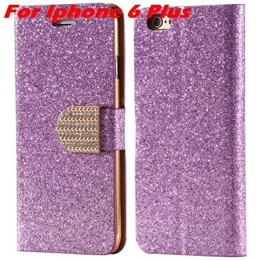 For Iphone 6 Case Gold Luxury Bling Diamond Leather Case For Iphon 32258181305-11-Purple For I6 Plus
