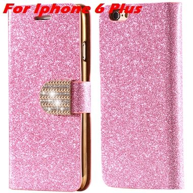 For Iphone 6 Case Gold Luxury Bling Diamond Leather Case For Iphon 32258181305-13-Pink For I6 Plus