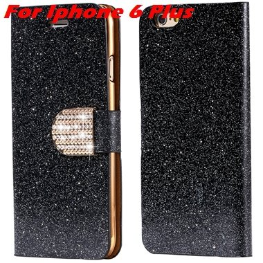 For Iphone 6 Case Gold Luxury Bling Diamond Leather Case For Iphon 32258181305-14-Black For I6 Plus