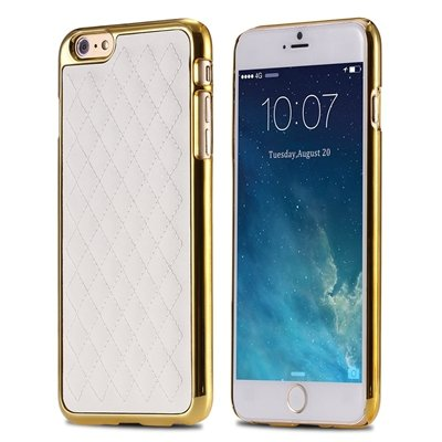 """Retro Luxury Pc Plating + Pu Leather Case For Iphone 6 4.7 """""""" Soft  32256589583-2-White and Gold"""