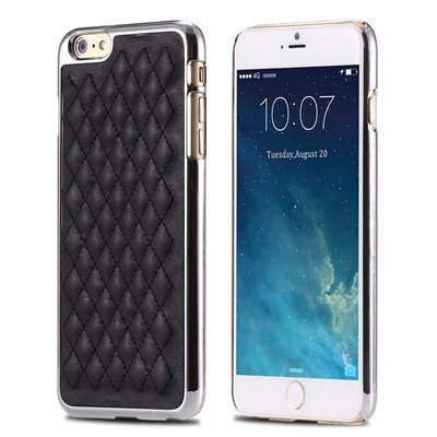 """Retro Luxury Pc Plating + Pu Leather Case For Iphone 6 4.7 """""""" Soft  32256589583-3-Black and Sliver"""