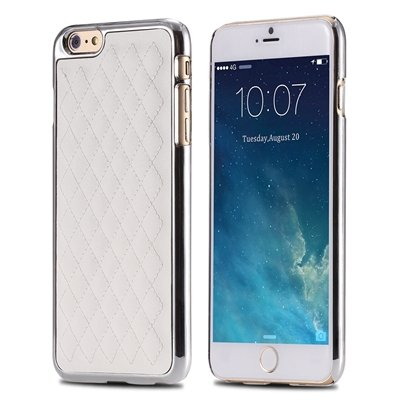 """Retro Luxury Pc Plating + Pu Leather Case For Iphone 6 4.7 """""""" Soft  32256589583-4-White and Sliver"""