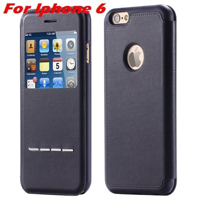 Luxury Gold Smart Answer Flip Leather Case For Iphone 6 /Iphone 6  32266094621-1-Black For Iphone 6