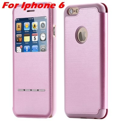 Luxury Gold Smart Answer Flip Leather Case For Iphone 6 /Iphone 6  32266094621-3-Pink For Iphone 6