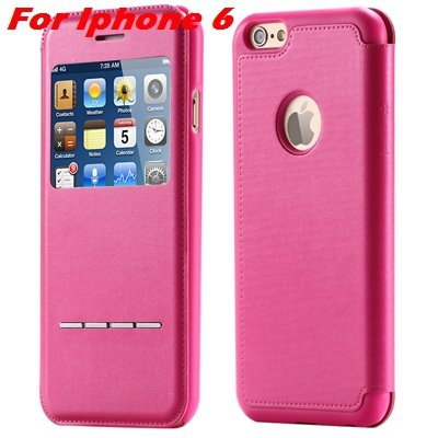 Luxury Gold Smart Answer Flip Leather Case For Iphone 6 /Iphone 6  32266094621-5-Hot Pink For Iphone