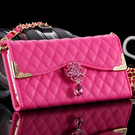 New Arrival Luxury Flip Pu Leather Case For Iphone 6 4.7 Lattice P 32223495624-6-Hot Pink