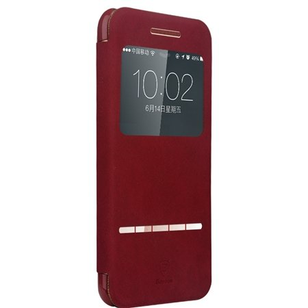 Retro Luxury Front Window View Smart Case For Iphone 6 4.7Inch Fli 32261750675-2-Red
