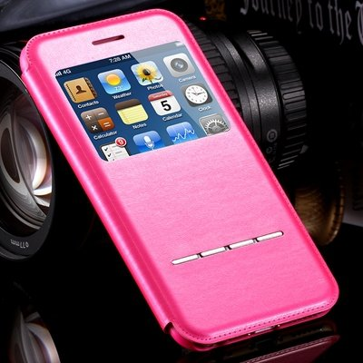 Window View Luxury Business Gold Leather Case For Iphone 6 4.7 Fli 32266459855-5-Hot Pink