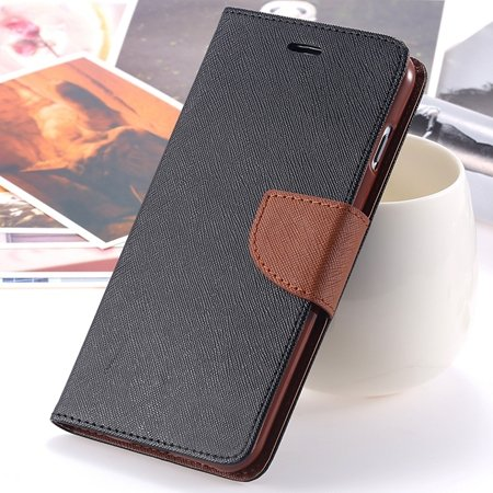 """Retro Fashionable Flip Pu Leather Case For Iphone 6 Case 4.7"""""""" Luxu 2028613606-11-Black and Brown"""