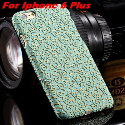 Cute Lovely Classic Palace 3D Flower Pu Leather Case For Iphone 6  32258157872-5-Green For I6 Plus