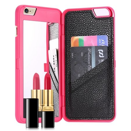 For Iphone 6 Mirror Case Fashion 3D Water Pattern Flip Pu Leather  32279360556-3-Hot Pink