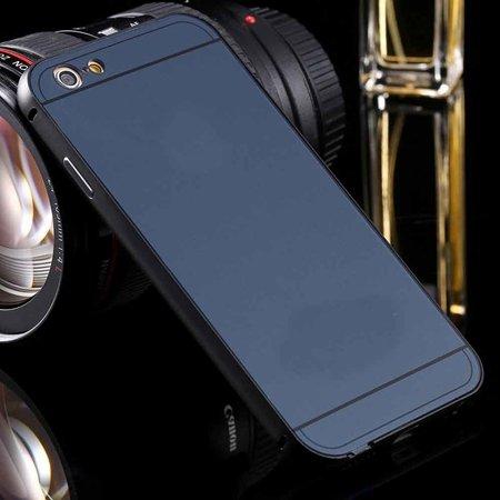 For Iphone6 Hard Case Luxury Gold Metal Aluminum +Acrylic Hybrid B 32290073190-1-Navy Blue