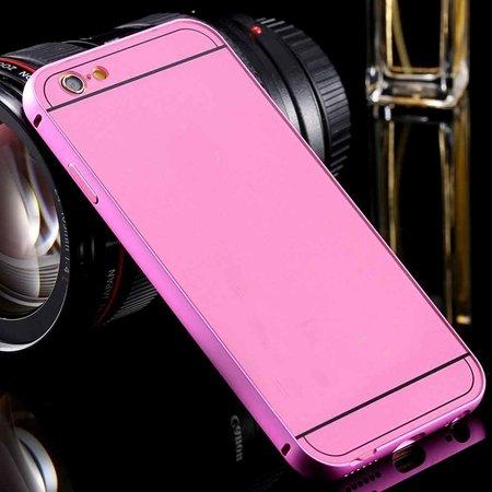 For Iphone6 Hard Case Luxury Gold Metal Aluminum +Acrylic Hybrid B 32290073190-6-Pink