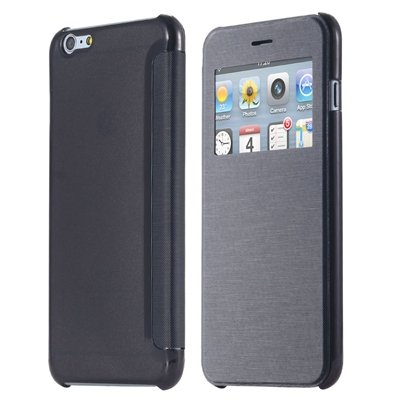 For Iphone 6 Leather Case Front Window View Pu Leather Case For Ip 32256582352-1-Black
