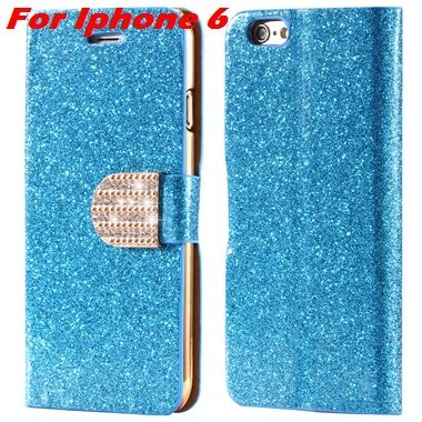 For Iphone 6 Plus Leather Case Gold Luxury Glitter Grossy Leather  32258760933-1-Blue For Iphone 6