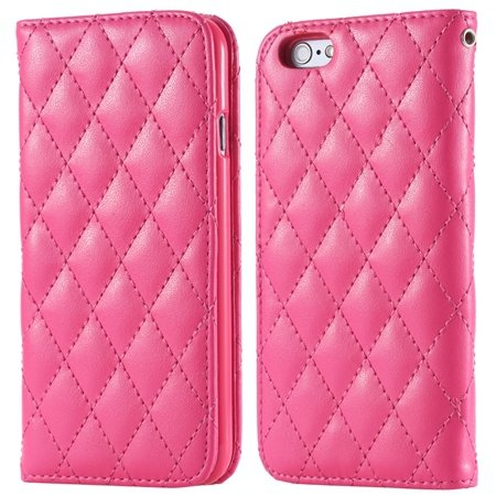 I6 Case Classic Luxury Sheep Grid Pu Leather Case For Iphone 6 4.7 32266551596-4-Hot Pink