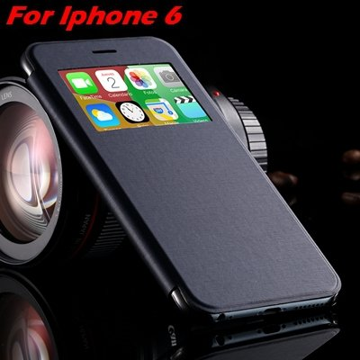 For Iphone 6 Leather Case Front Window View Pu Leather Case For Ip 32256469102-8-Navy Blue For I6
