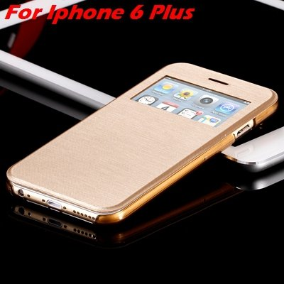 For Iphone 6 Leather Case Front Window View Pu Leather Case For Ip 32256469102-16-Gold For I6 Plus